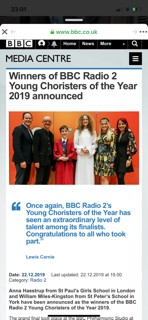 St Mary's Choral Scholar Anna Haestrup wins BBC Young Chorister of the Year 2019