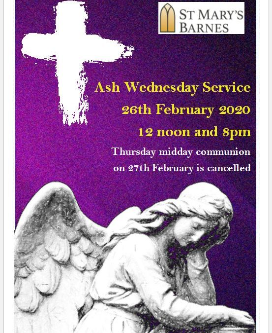 Ash Wednesday Services 2020