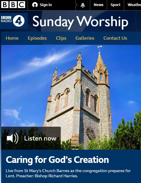 BBC Radio 4 Sunday Worship live from St Mary's Barnes
