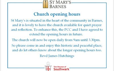 St Mary's Barnes new opening hours