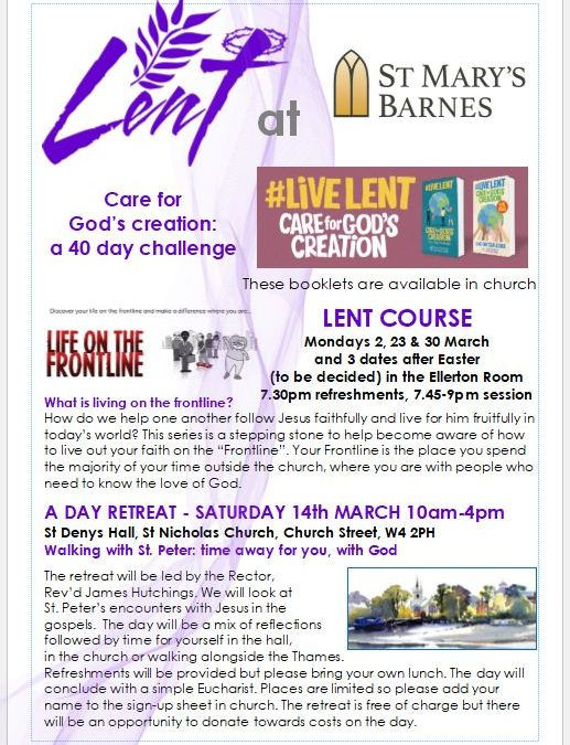 Lent 2020 at St Mary Barnes