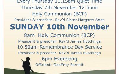 Remembrance Sunday Service 10.50am on 10th November 2019